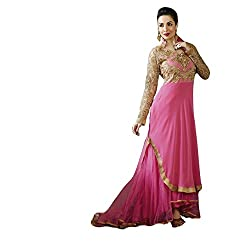 Justkartit Women's Pink Colour latest Indian Fashion Georgette & Net Wedding Wear Semi-stitched Stylish Salwar Kameez (Celebrity fashion collection)