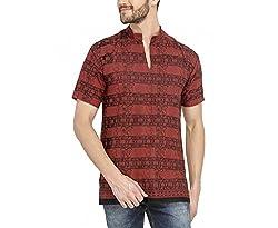 Castor Mens Ethnic Short Kurta Om Design_Red_XL