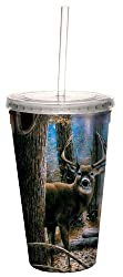 Tree-Free Greetings 80000 Woodland Sentry Buck Collectible Art Double Wall Cool Cup with Straw, 16-Ounce, Multicolored