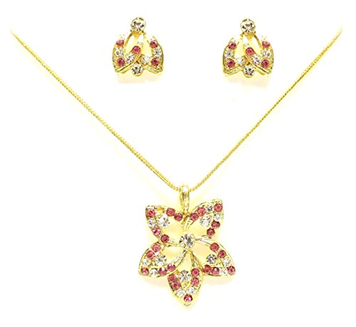 Zaveri Pearls Pink Non-Precious Metal Pendant set with stud earring for Women