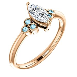 14K Rose Gold Marquise Cut Diamond and Aquamarine Engagement Ring