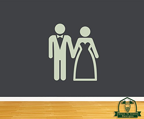 Bride and Groom Stick People 28″ Wall Decal – Glow in the Dark