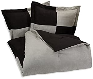 AmazonBasics 3-Piece Two-Tone Microsuede Comforter Set - Full/Queen, Black