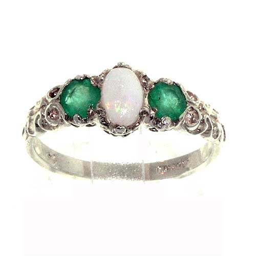 Sterling Silver Ladies Colourful Fiery Opal & Emerald Ring