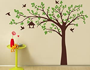 "PopDecors - Big tree with love birds(100"" W) - Custom Beautiful Tree Wall Decals for Kids Rooms Teen Girls Boys Wallpaper Murals Sticker Wall Stickers Nursery Decor Nursery Decals"
