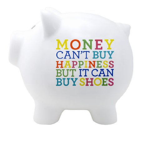 Money can 39 t buy me happiness piggy bank home garden decor for How to make a piggy bank you can t open