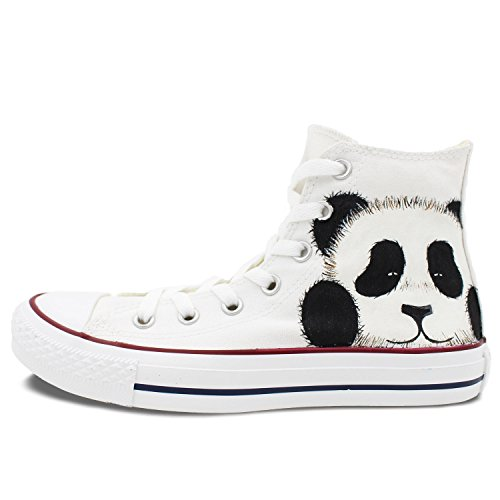 Converse All Star Panda Hand Painted Canvas White High Top Women Men Shoes