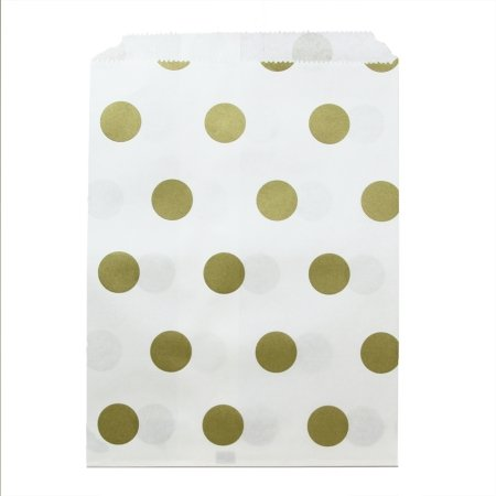 Dress My Cupcake Polka Dot Party Favor Bags (Set of 24), Gold (Popcorn Bag Cupcake compare prices)