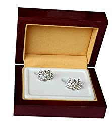 Navaksha Butterfly Style Golden Cufflinks with Micro Stones