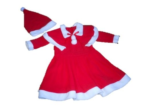 サンタ コスプレ ベビー サンタクロース リボン ケープ ・ 帽子付き ふんわりスカート ワンピ キッズ コスチューム 衣装 (80cm)