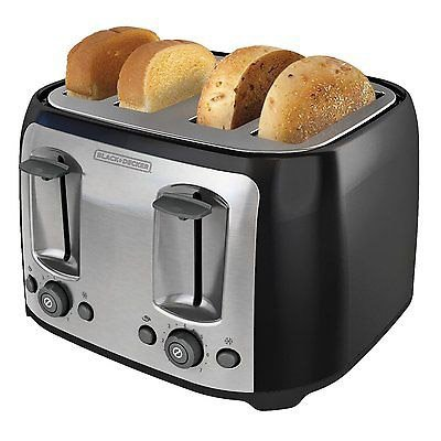 Black & Decker 4 Slice Extra Wide Slot Toaster Black Bread Bagel Bun Waffle NEW (Grill Bun Toaster compare prices)