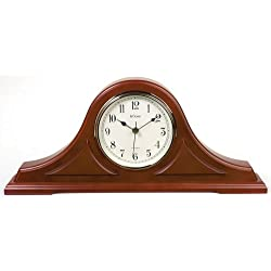River City Clocks Radio-controlled Tambour Mantel Clock with Cherry Finish - 9 Inches Tall - Model # 801-394C
