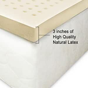 100 natural latex mattress topper 3 inches extra firm queen home kitchen. Black Bedroom Furniture Sets. Home Design Ideas