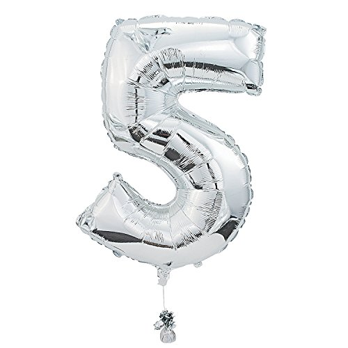 """5"" Shaped Mylar Balloon Number 5 - Balloons & Boys Birthday Balloons. 25"" x 34"". Mylar."