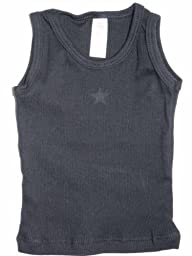 YogaColors Modern Vintage Star Infant Ribbed Tank Top (6-12 Months, Black)