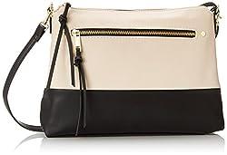 Emilie M. Cheri Top Zipper Hobo, Ivory/Black, One Size
