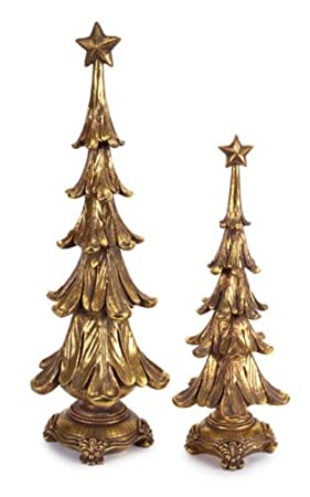 Antiqued Gold Christmas Tree Table Top Decorations Pack of 4 by Melrose