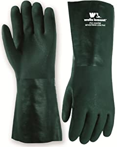 Wells Lamont 167L Heavyweight PVC Fully Coated Gloves, Cotton Jersey Lining, 14-inch Gauntlet Cuff, Large, Green