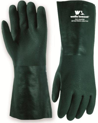 Wells Lamont 167L 14-Inch Green PVC Coated Gloves with Cotton Fleece Lining, Gauntlet Cuff, Large