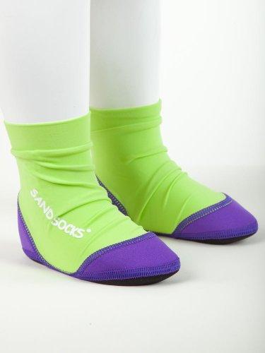 Vincere Sand Socks Soft-Soled Beach Socks (Toddler/Child) Xl Green/Purple