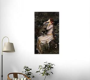 Ophelia by John William Waterhouse Wall Decal - 60 Inches H x 35 Inches W - Peel and Stick Removable Graphic