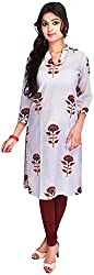 Geroo Women's Cotton Regular Fit Kurta (KUS-1513AZ, White, L)