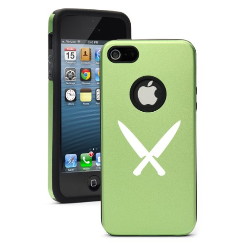 """Apple Iphone 6 (4.7"""") Aluminum Silicone Dual Layer Hard Case Cover Chef Knives (Green)"""