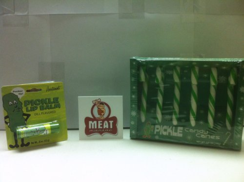 MEAT MANIAC Pickle Lovers Combo Gift Pack with Sticker- Pickle Candy Canes & Pickle Lip Balm (Pickle Flavored Candy Canes compare prices)