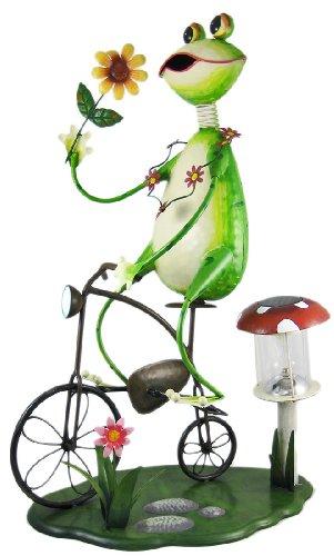 Cool Bike-Riding Frog Solar Lamp Garden Statue Metal