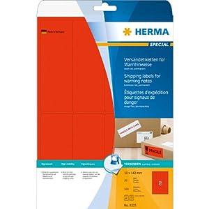 Herma Versandetikett/Warnhinweis A4 8325 50x142 mm Papier matt 160 Stück neon-rot