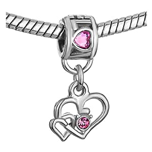 Pugster Pink Heart Crystal Engraved Love Dangle Double European Lover Bead Silver Fits Pandora Chamilia Biagi Charm Bracelet