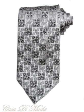 NEW Luxury Italian Hand Made Tie Gray Pattern Necktie