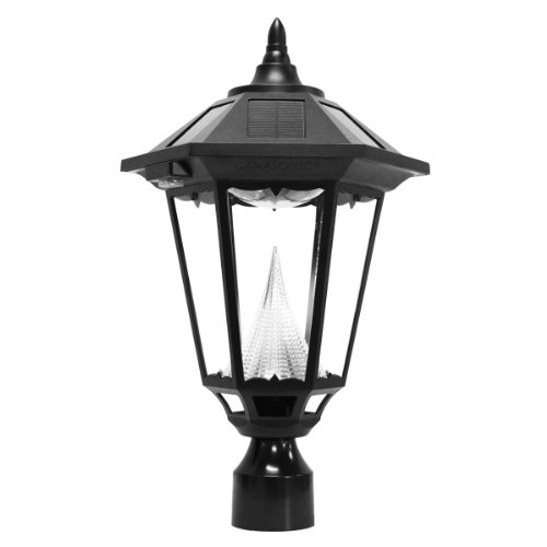 Gama-Sonic-Windsor-Solar-Outdoor-LED-Light-Fixture-3-Inch-Fitter-for-Post-Mount-Black-Finish-GS-99F