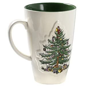 #!Cheap Spode Christmas Tree Green Glaze Mug, Set of 4