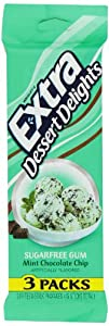 Extra Dessert Delights, Sugar Free, Mint Chocolate Chip gum, 15 count, 3 pack