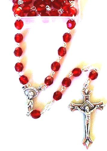 Crystal Ruby Holy Land Rosary Spiritual Religious