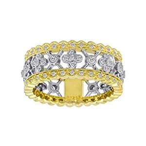 Meira T 14K Yellow Gold Diamond Art Deco Style Floral Right Hand Ring Size 7.5