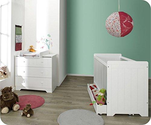 Mini Babyzimmer Oslo weiß mit Wickelfläche
