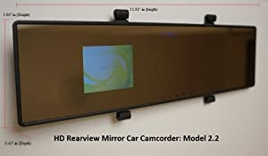 Dash Cam HD Rearview Mirror Car Camcorder Vehicle DVR Road Dash Video Camera Recorder Accident Camcorder Model 2.2