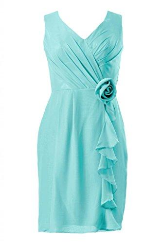 Daisyformals V-Neck Knee Length Bridesmaid Formal Party Dress(Bm266)- Tiffany Blue