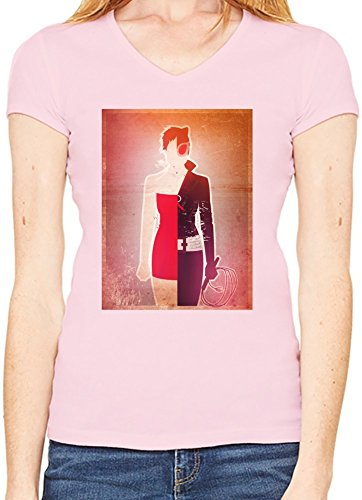 Supergirl Illustration T-Shirt V collo Donne X-Large