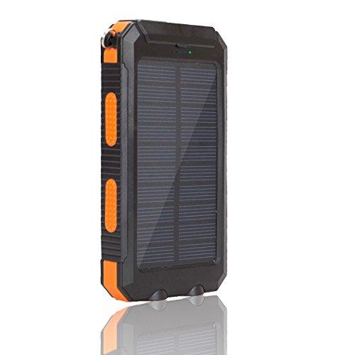 SOMAN 10000mAh大容量ソーラーパネル モバイルバッテリー 防水・防塵・耐衝撃 キャンプ アウトドア 災害、防災向け LEDライト搭載(ブラック+オレンジ)