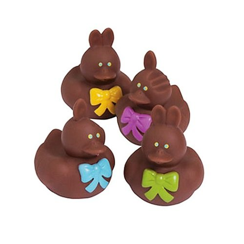 Vinyl Chocolate Easter Bunny Rubber Duckies, 12-Piece (Dozen) - 1