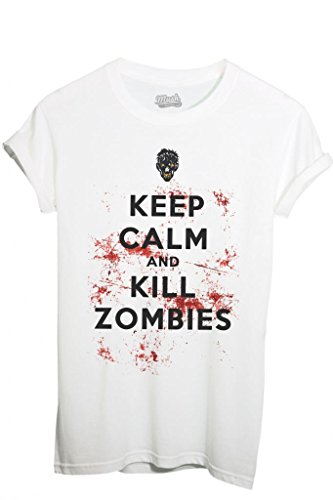 T-SHIRT KEEP CALM ZOMBIES WALKING DEAD- SERIE TV by MUSH Dress Your Style - Donna-XL-BIANCA