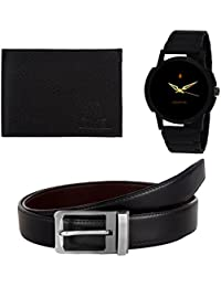 Golden Bell Original Black Dial Wrist Watch, Wallet And Reverseble Belt Combo For Men