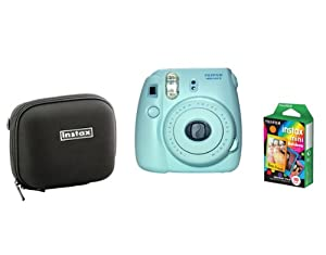 Fujifilm Instax Mini 8 Blue Camera + Mini Rainbow Colored Border 10 images + case