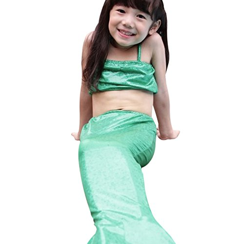Urparcel Kids Girl 3Pcs Mermaid Tail Swimwear Set Dress Swimsuit Bikini