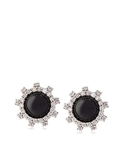 CZ BY KENNETH JAY LANE 2Cttw Cz/Onyx Stud Post Earrings, .5 Diameter Size