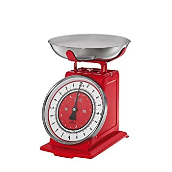Küchenprofi 'Nostalgia' - Kitchen Scales - Vintage Style with Removable Dishwasher Safe Bowl - Red