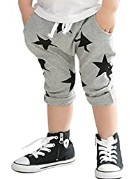 CM-Kid Boys\' Pant Korean Cotton All Over Star Cropped Trousers Shorts 12-24M